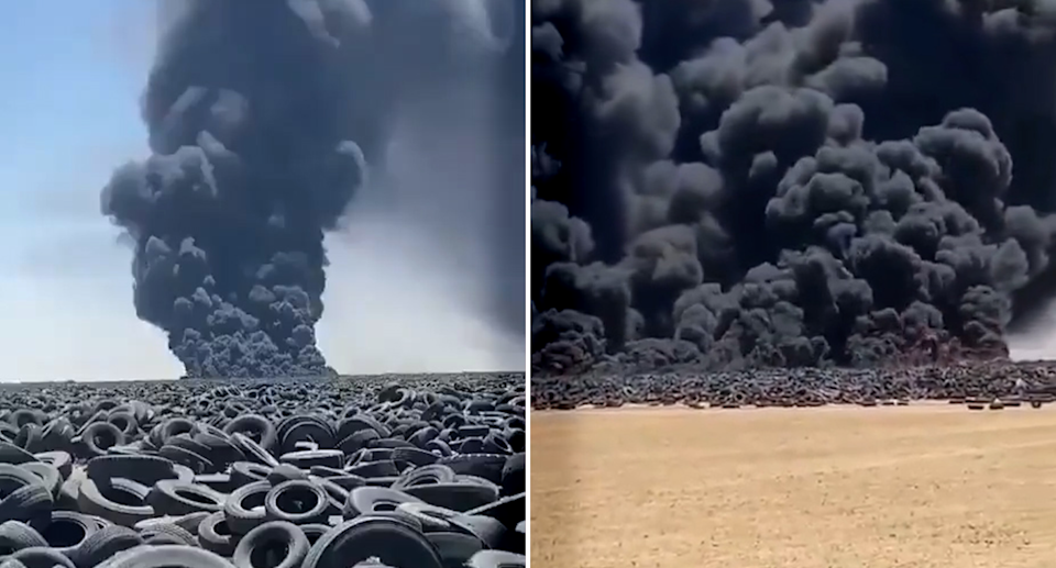 Video of a large tyre fire in Kuwait. Source: Twitter