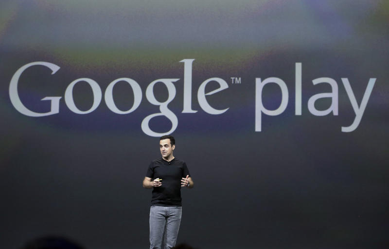 Hugo Barra, vice president, Android Product Management at Google, speaks at Google I/O 2013 in San Francisco, Wednesday, May 15, 2013. (AP Photo/Jeff Chiu)