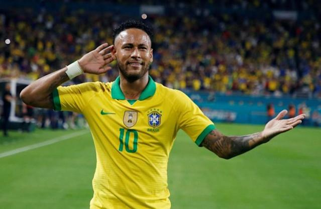 A woman who accused Brazilian football star Neymar -- seen here celebrating after scoring against Colombia during their international friendly football match in Miami, Florida on September 6, 2019 -- of rape is facing extortion and slander charges (AFP Photo/RHONA WISE )