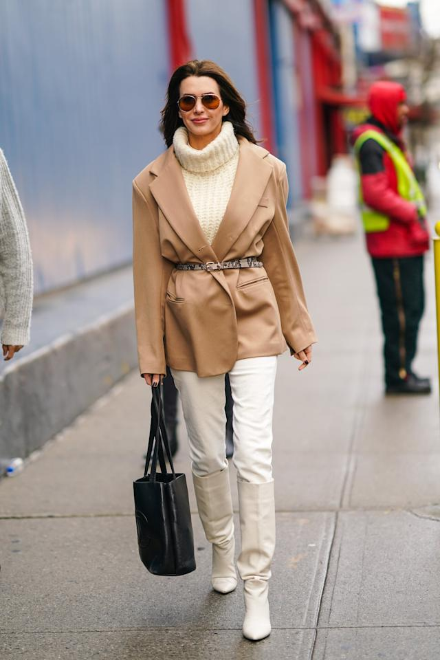 <p>When you're wearing layering, specifically by way of a tonal look, a slim and printed belt will define your shape and add a textural element for added interest. </p>