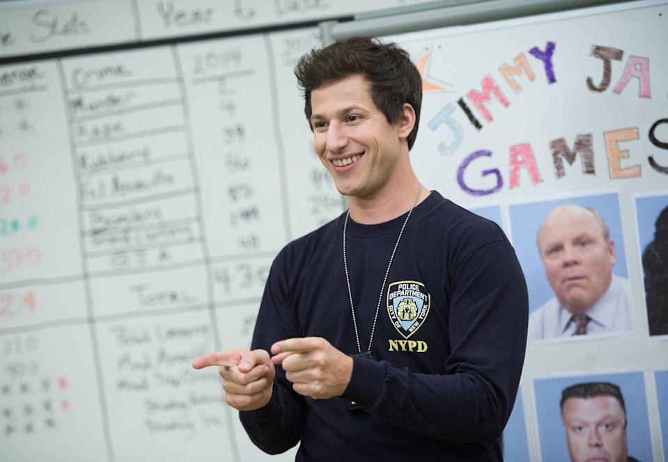 """<p><a class=""""link rapid-noclick-resp"""" href=""""https://go.redirectingat.com?id=74968X1596630&url=https%3A%2F%2Fwww.hulu.com%2Fseries%2Fbrooklyn-nine-nine-daf48b7a-6cd7-4ef6-b639-a4811ec95232%3Fcmp%3D7958%26ds_rl%3D1263136%26gclid%3DEAIaIQobChMIkdTxsqHt5QIVAYeGCh3U9wvEEAAYASAAEgJtu_D_BwE%26gclsrc%3Daw.ds&sref=https%3A%2F%2Fwww.cosmopolitan.com%2Fentertainment%2Ftv%2Fg25240478%2Fthanksgiving-tv-episode-guide%2F"""" rel=""""nofollow noopener"""" target=""""_blank"""" data-ylk=""""slk:Stream Now"""">Stream Now</a></p><p>If you're looking for a very untraditional Thanksgiving episode, try a police precinct on lockdown for your fancy. The show does what <em>Brooklyn Nine-Nine</em> does best...chaos. And it's nonetheless on Thanksgiving. </p>"""