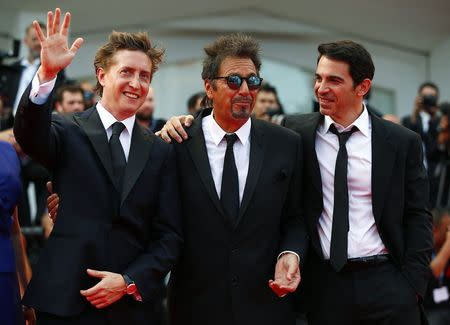 "Director David Gordon (L) and cast members Al Pacino (C) and Chris Messina attend the red carpet for the movie ""Manglehorn"" at the 71st Venice Film Festival August 30, 2014. REUTERS/Tony Gentile"