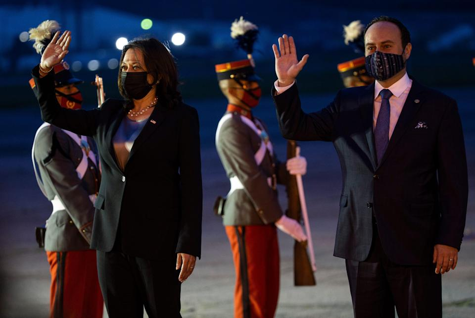 Vice President Kamala Harris is escorted by Guatemalan Minister of Foreign Affairs Pedro Brolo upon her arrival to Guatemala City on June 6, 2021.