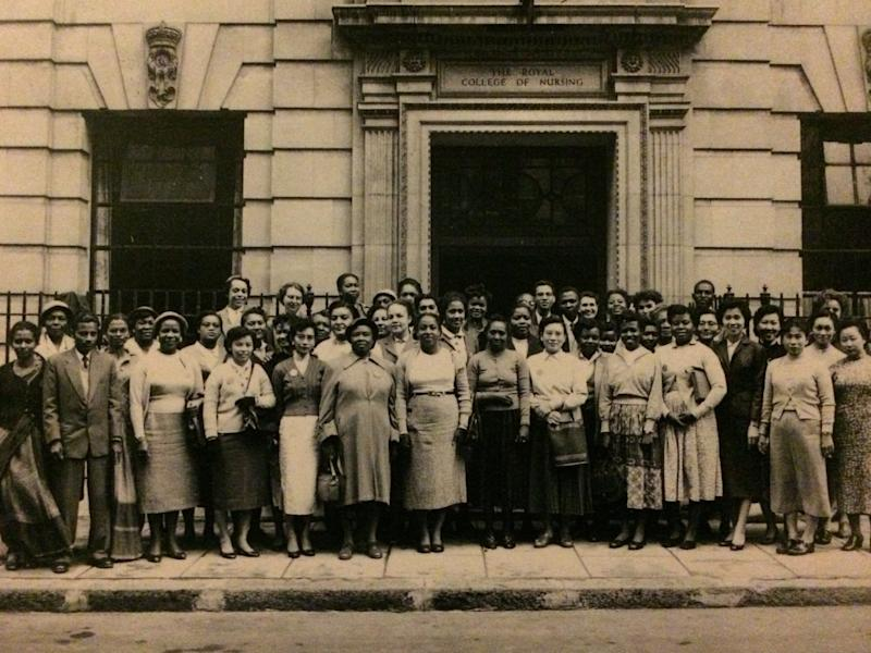 The Windrush generation of international school students outside the Royal College of Nursing College entrance, 1957: Royal College of Nursing