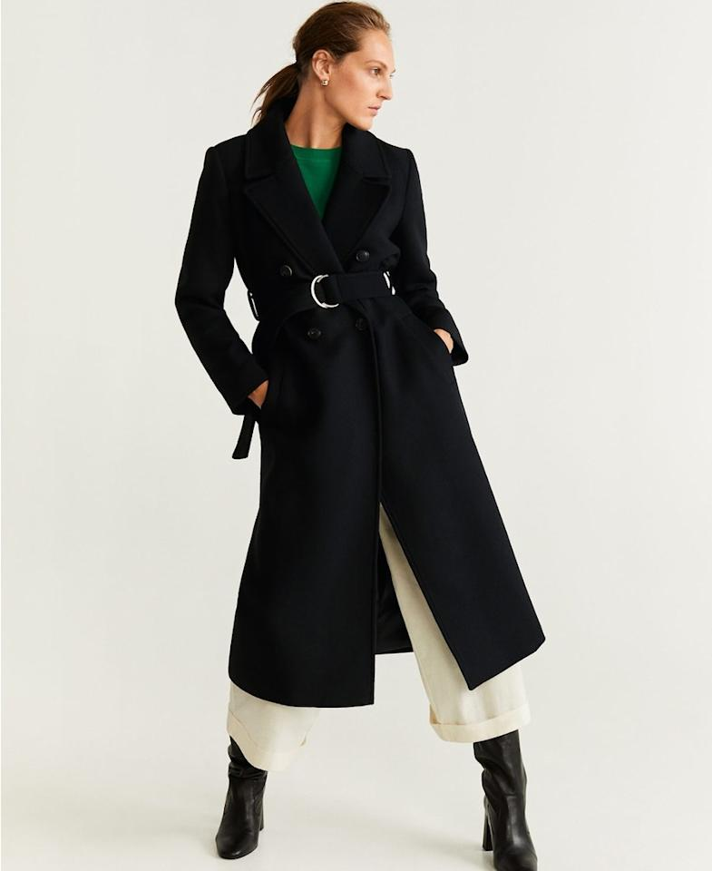 "Give shape to a roomy silhouette by tying it at the waist with a belt—no tailoring necessary. $250, Mango. <a href=""https://shop.mango.com/us/women/coats-coats/belted-wool-coat_51065013.html?c=99&n=1&s=search"">Get it now!</a>"