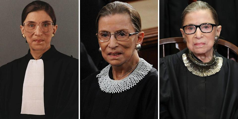 """<p class=""""body-dropcap"""">Ruth Bader Ginsburg passed away at 87 from metastatic pancreatic cancer last Friday. The Supreme Court justice spent 27 years on the bench and was the second woman to hold the title, following Sandra Day O'Connor. </p><p>During her tenure, Ginsburg was known for championing progressive causes, providing dissenting opinions, and wearing an array of jabots over her traditional black robes. In a position that was for too long dominated by men, she wanted to bring a touch of femininity to the court.<br></p><p>""""You know, the standard robe is made for a man because it has a place for the shirt to show, and the tie,"""" Ginsburg told the <em><a href=""""https://www.washingtonpost.com/wp-dyn/content/article/2009/09/03/AR2009090303790.html"""" rel=""""nofollow noopener"""" target=""""_blank"""" data-ylk=""""slk:Washington Post"""" class=""""link rapid-noclick-resp"""">Washington Post</a></em> in 2009. """"So Sandra Day O'Connor and I thought it would be appropriate if we included as part of our robe something typical of a woman. So I have many, many collars.""""</p><p>In a 2014 <a href=""""https://news.yahoo.com/video/justice-ginsburg-exhibits-her-famous-194517521.html"""" data-ylk=""""slk:interview with Katie Couric;outcm:mb_qualified_link;_E:mb_qualified_link;ct:story;"""" class=""""link rapid-noclick-resp yahoo-link"""">interview with Katie Couric</a>, Ginsburg shared the contents of her closet, specifically her extensive collection of jabots. She explained how she would wear a different style to express her personal opinions about a court ruling or event in Congress. From a <a href=""""https://www.harpersbazaar.com/fashion/trends/a25779096/banana-republic-ruth-bader-ginsburg-dissent-collar/"""" rel=""""nofollow noopener"""" target=""""_blank"""" data-ylk=""""slk:black bib necklace with rhinestones"""" class=""""link rapid-noclick-resp"""">black bib necklace with rhinestones</a> that conveyed her disapproval to a crochet collar with gold chains that reflected how she was in agreement with her colleagues, we track some of the justice'"""