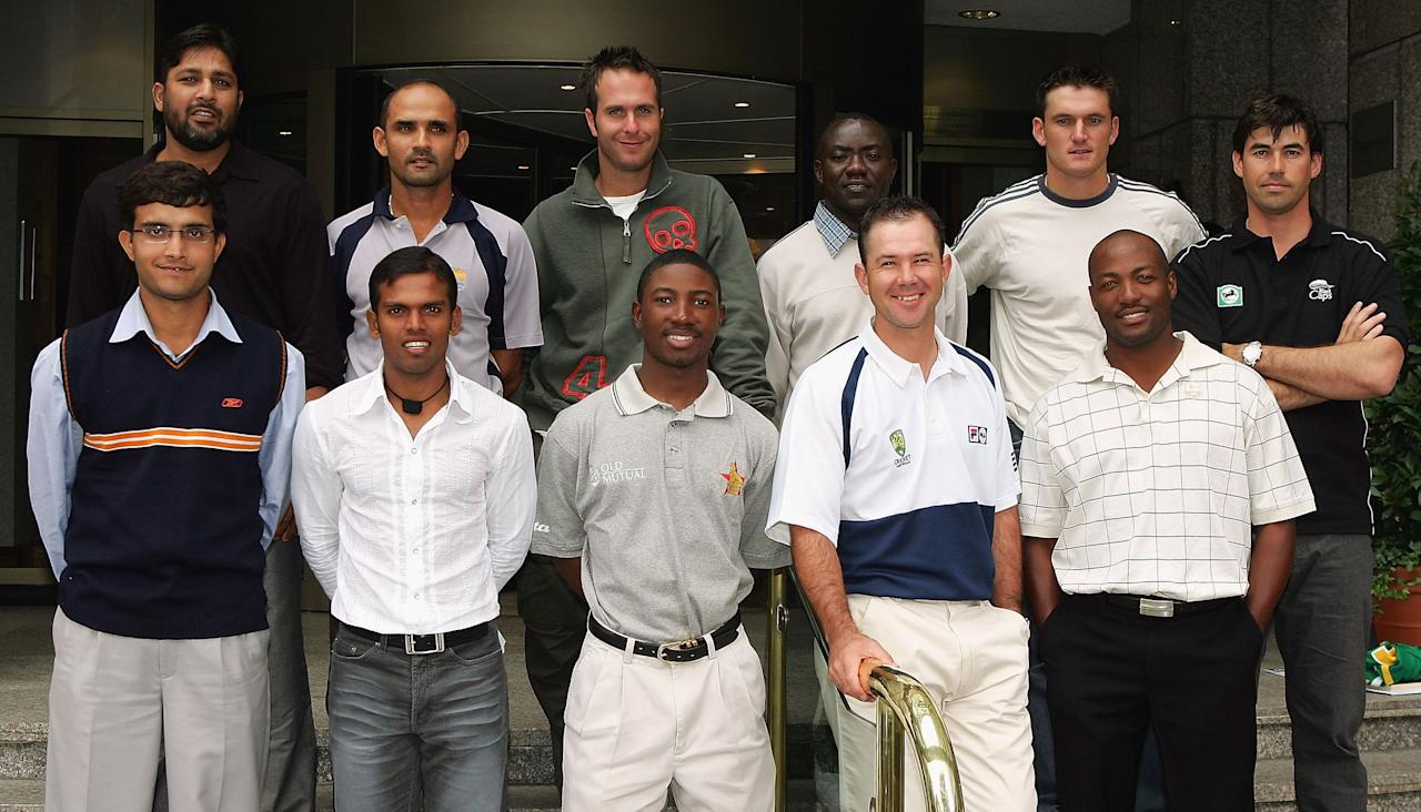 Sourav Ganguly of India, Rajin Saleh of Bangladesh, Tatenda Taibu of Zimbabwe, Ricky Ponting of Australia and Brian Lara of West Indies, (Back Row L to R) Inzamam-ul-Haq of Pakistan, Marvan Atapattu of Sri Lanka, Michael Vaughan of England, Steve Tikolo of Kenya, Graeme Smith of South Africa and Stephen Fleming of New Zealand pose for a photograph during a photocall of the captains taking part in The ICC Champions Trophy, on September 7, 2004 in London, England.  (Photo by Scott Barbour/Getty Images)