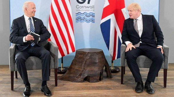 PHOTO: Britain's Prime Minister Boris Johnson meets with U.S. President Joe Biden, ahead of the G7 summit, at Carbis Bay Hotel, on June 10, 2021 near S.t Ives, England.  (Wpa Pool/Getty Images)