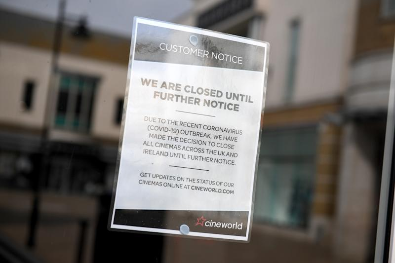 WEYMOUTH, ENGLAND - APRIL 05: Notices at Cineworld cinema on April 05, 2020 in Weymouth, United Kingdom. The Coronavirus (COVID-19) pandemic has spread to many countries across the world, claiming over 60,000 lives and infecting over 1 million people. (Photo by Finnbarr Webster/Getty Images)