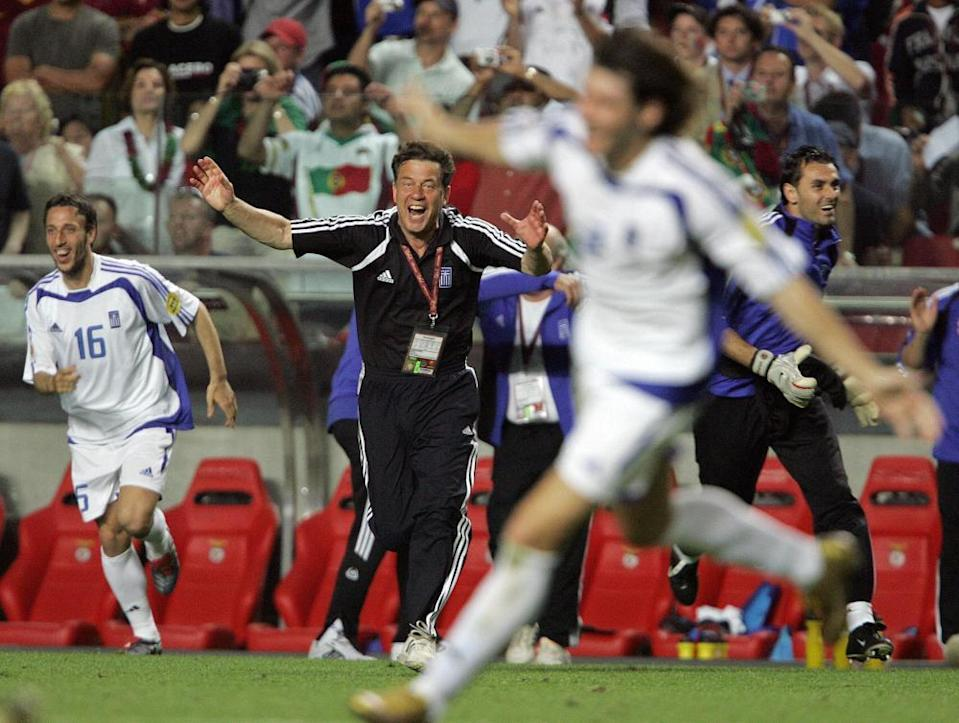 Otto Rehhagel and his Greek side beat France, a talented Czech Republic side and Portugal twice on their way to the trophy.