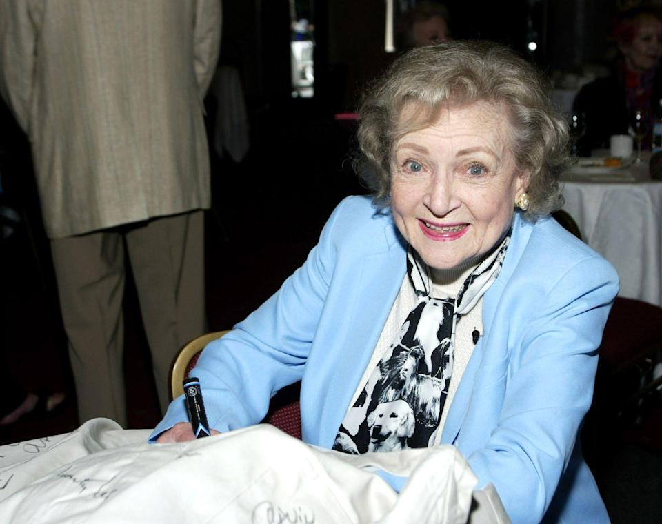 "<p>In 2005, Actors and Others for Animals <a href=""https://www.broadwayworld.com/article/Photo-Flash-Betty-White-Honored-by-Actors-and-Others-for-Animals-20110411"" rel=""nofollow noopener"" target=""_blank"" data-ylk=""slk:honored White"" class=""link rapid-noclick-resp"">honored White</a>, a lifelong animal lover, at their Celebration of Caring. White was given the first ""Betty White Inspirational Award,"" which honors people who have inspired public awareness and appreciation of animals and their need for protection and care.<br></p>"