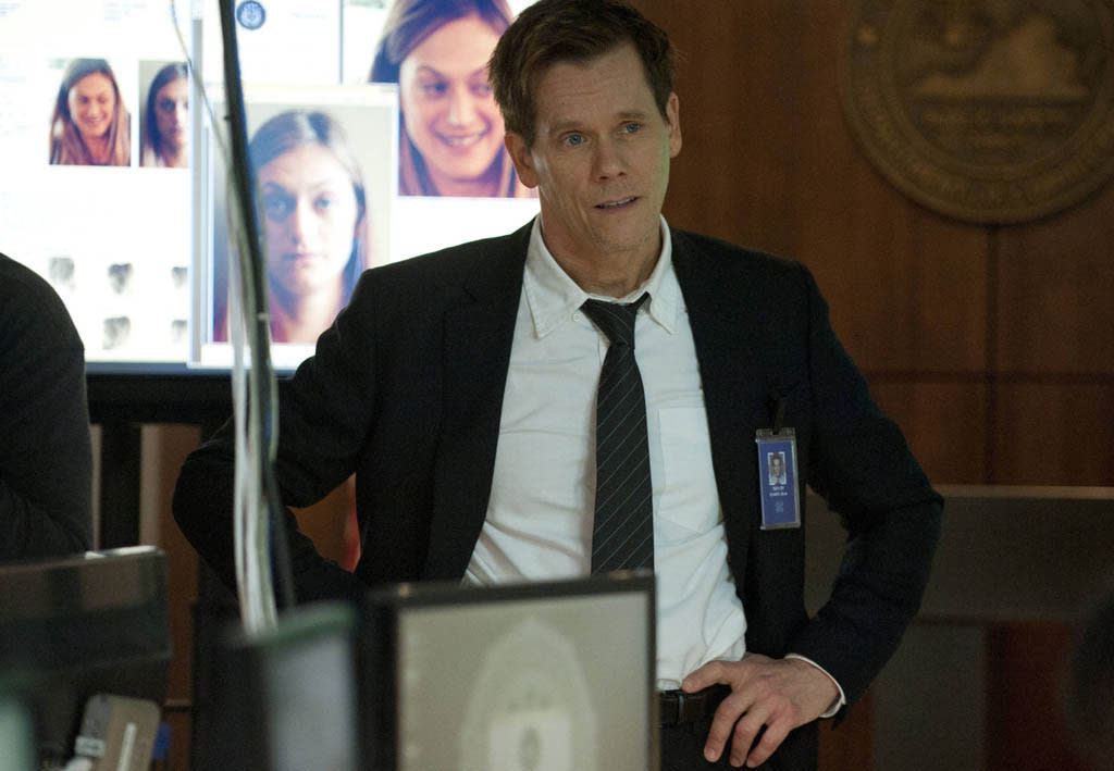 "Ryan Hardy (Kevin Bacon) questions Joe Carroll's whereabouts in the ""Guilt"" episode of ""The Following."""