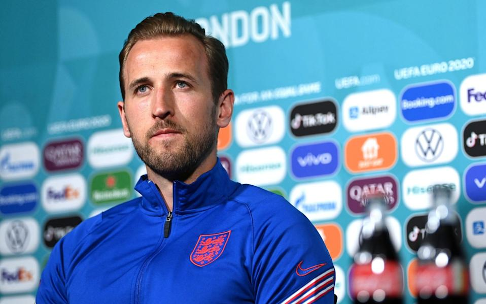 Harry Kane speaks to the media ahead of England's Group D meeting with Scotland - GETTY IMAGES