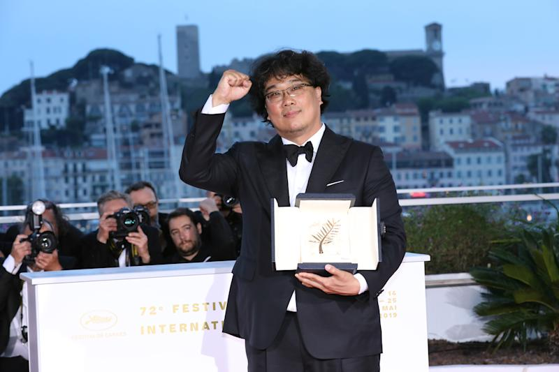 "Bong Joon-Ho, winner of the Palme d'Or award for his film ""Parasite"" during the 72nd annual Cannes Film Festival on May 25, 2019. (Photo by Tony Barson/FilmMagic)"