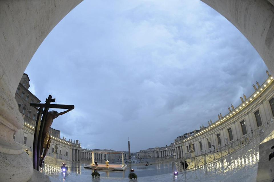 Pope Francis stood alone in vast Saint Peter's Square on 28 March.