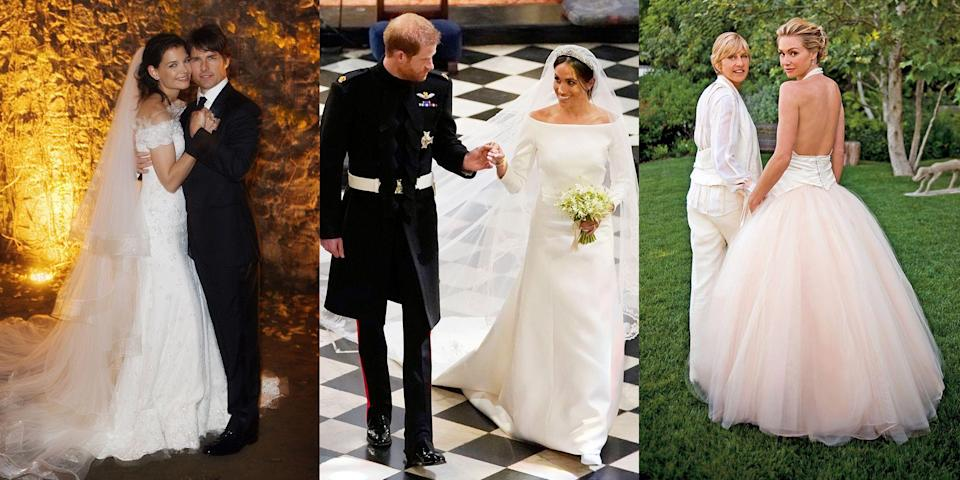 <p>Celeb marriages don't always last, but what they wear to walk down the aisle serves as #weddinginspo forever. From the prettiest princesses to A-list actresses, these are the 35 best wedding dresses worn by famous faces.<br></p>
