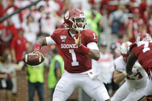 Quarterback Jalen Hurts #1 of the Oklahoma Sooners looks to throw against the Texas Tech Red Raiders at Gaylord Family Oklahoma Memorial Stadium on September 28, 2019 in Norman, Oklahoma. The Sooners defeated the Red Raiders 55-16. (Getty Images)
