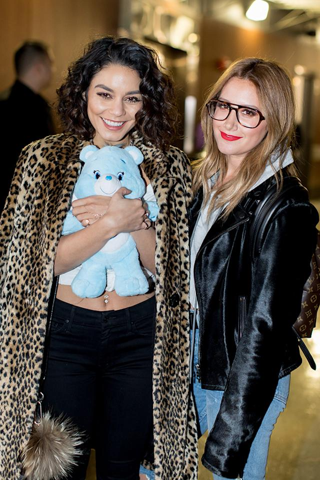 <p>Vanessa Hudgens and Ashley Tisdale posed with Care Bear Bedtime Bear ahead of National Hug Day on Jan. 21. As Care Bears celebrates its 35th anniversary this month, cupcake bakery Sprinkles is offering limited-edition Care Bears cupcakes through Jan. 25 at locations nationwide. (Photo: Frances Duque/Gremly Media) </p>
