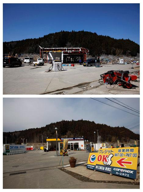 A combination photograph shows the same location in Minamisanriku, Miyagi prefecture on two different dates, April 6, 2011 (top) and February 21, 2012 (bottom). The top photograph shows a petrol station that was damaged by the magnitude 9.0 earthquake and tsunami, the bottom photograph shows the same location almost a year later.   REUTERS/Toru Hanai