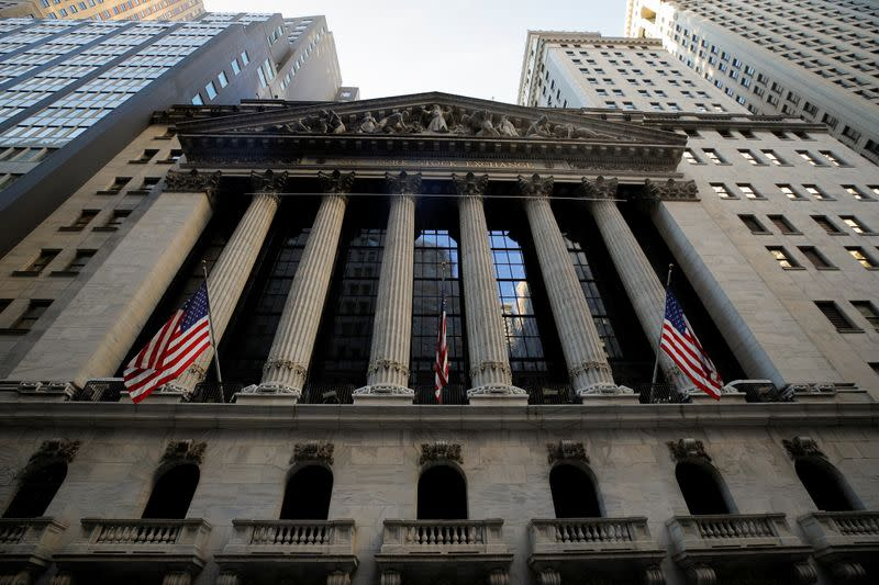 The front facade of the NYSE is ssen in New York