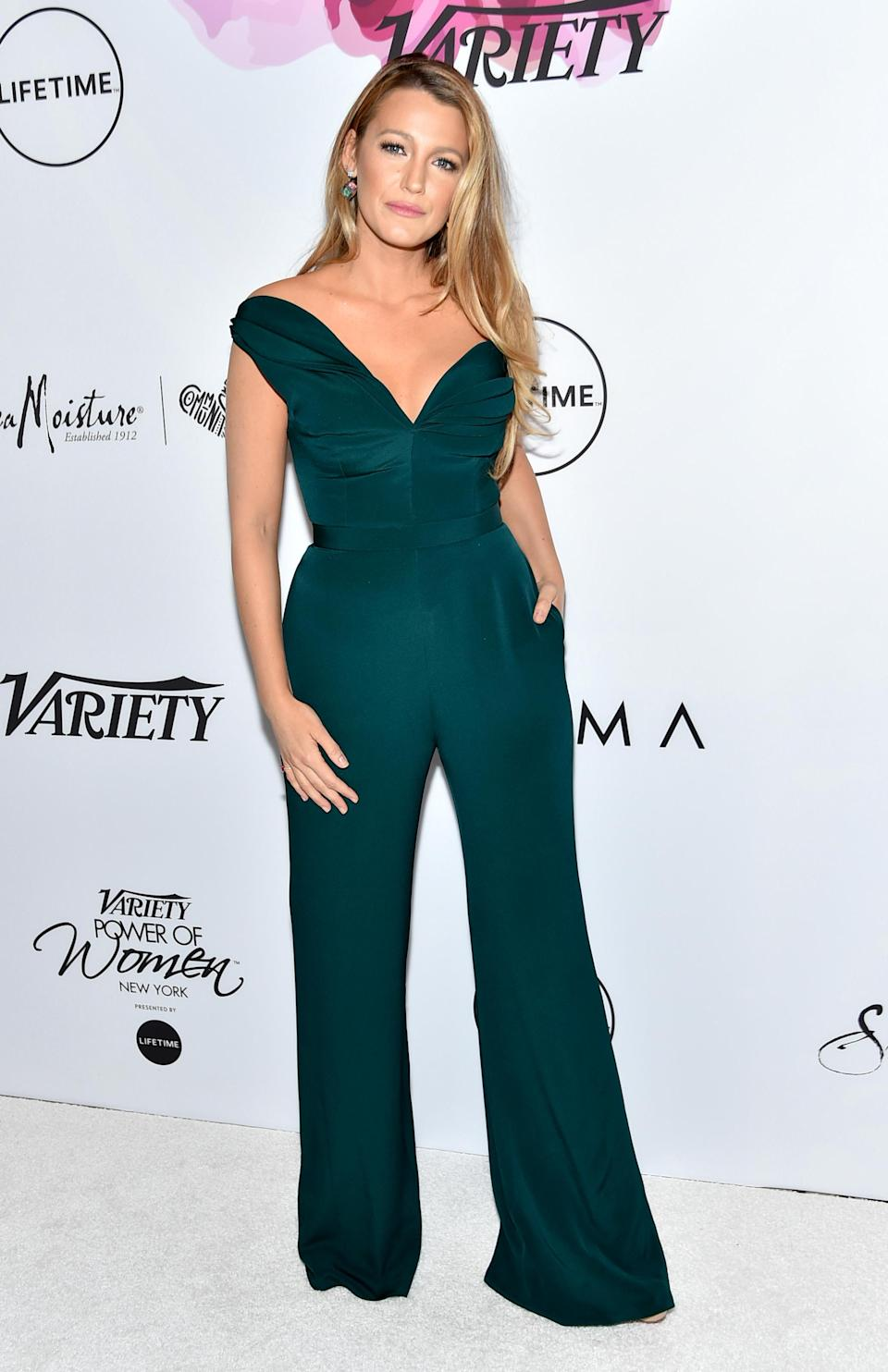 <p>The dark shade of this wide leg jumpsuit looks amazing against Blake's long blonde hair. She wore this outfit at Variety's Power Of Women: New York.<br><i>[Photo: Getty]</i> </p>