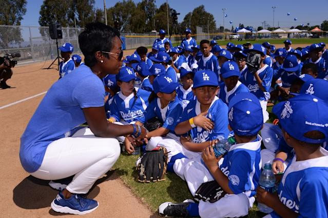"Los Angeles Dodgers Foundation head Nichol Whiteman at Darby Park in Inglewood in 2017. <span class=""copyright"">(©Los Angeles Dodgers,LLC 2017)</span>"