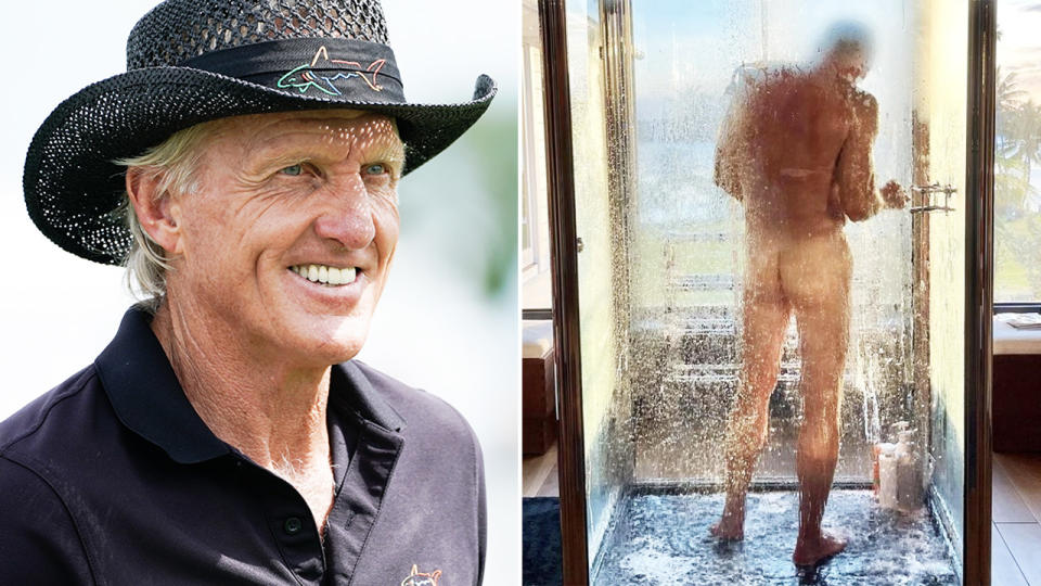 Greg Norman, pictured here in the shower.