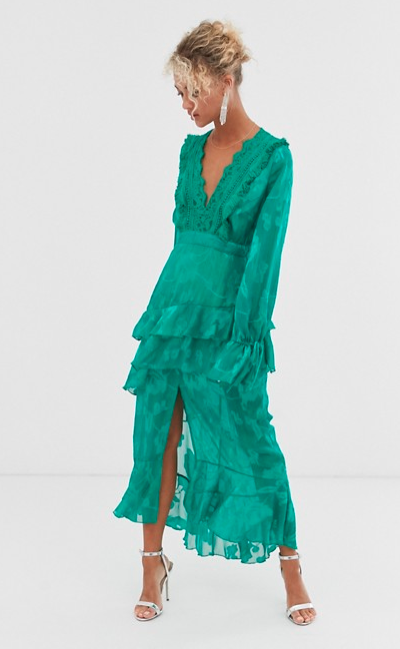 Dark Pink plunge front midi dress with frill detail in green - $130