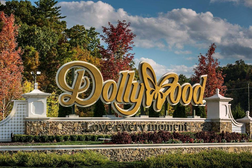"""<p><strong>Dollywood</strong></p><p>Jointly owned by Dolly Parton and Herschend Family Entertainment, <a href=""""https://www.dollywood.com/"""" rel=""""nofollow noopener"""" target=""""_blank"""" data-ylk=""""slk:Dollywood"""" class=""""link rapid-noclick-resp"""">Dollywood</a> is located in the Knoxville Smoky Mountains metroplex in Pigeon Forge, Tennessee. Don't be fooled by the butterfly in the logo—their wooden roller coaster Lightning Rod reaches a top speed of 73 mph—the fastest for a wooden roller coaster in the world!</p>"""