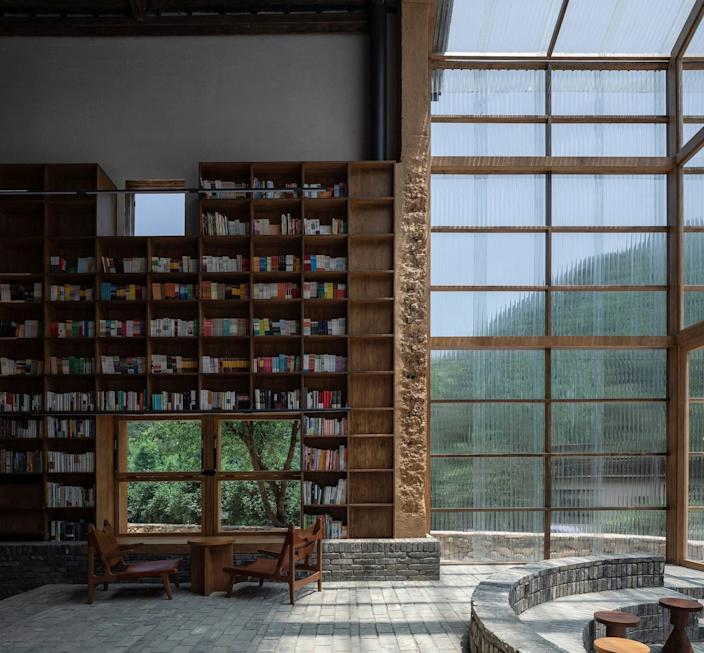 3   the bookshelves and new inserted corrugated polycarbonate building