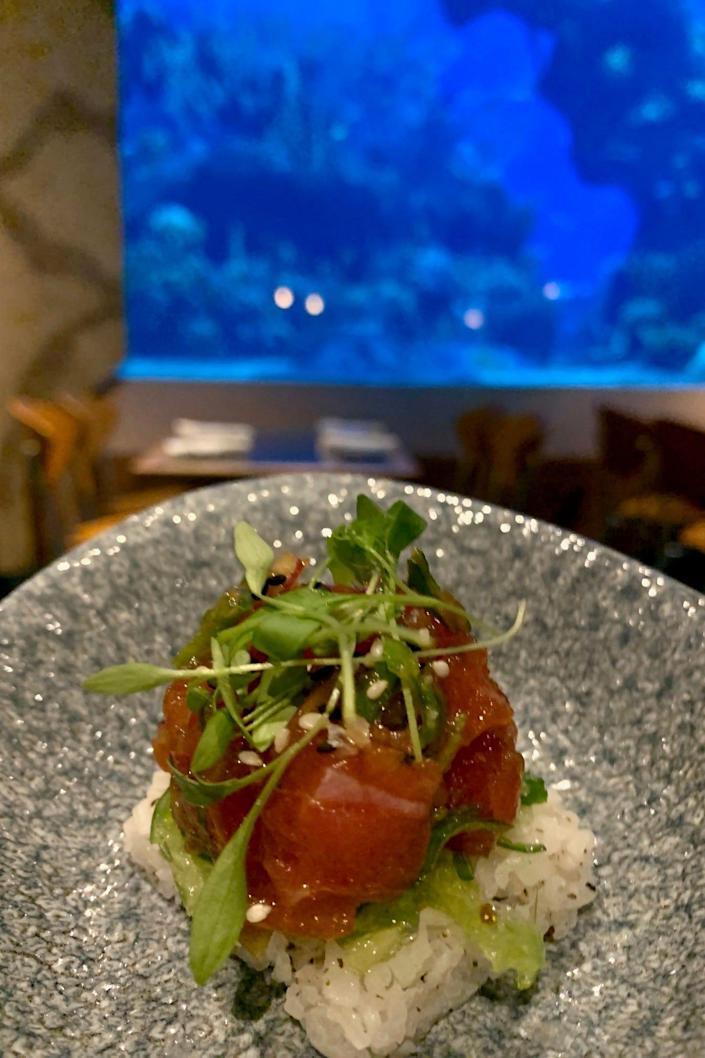 The Coral Reef restaurant in EPCOT's Future World lets you dine under the sea, or at least feel like you are, as you watch fish swimming in a huge aquarium.