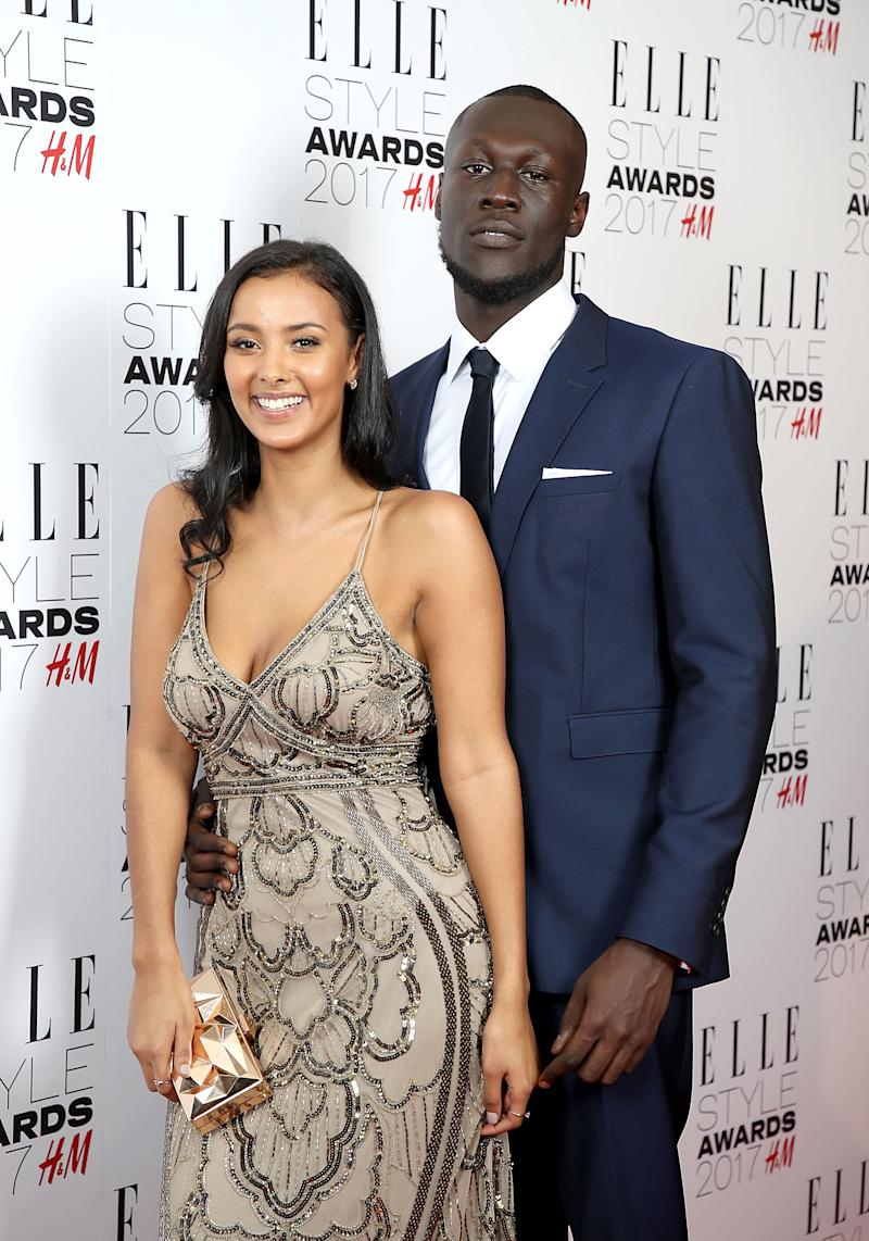 LONDON, ENGLAND - FEBRUARY 13: Maya Jama and Stormzy attends\ the Elle Style Awards 2017 on February 13, 2017 in London, England. (Photo by Mike Marsland/Mike Marsland/WireImage)