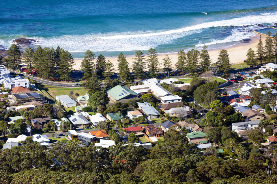 Pictured: Australian houses on coast line. Image: Getty