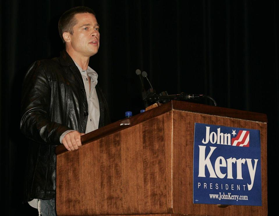 """<p>Pitt campaigned for then-Democratic presidential candidate John Kerry at the University of Missouri in October 2004. In a <a href=""""http://www.contactmusic.net/brad-pitt/news/pitt-gets-serious-for-john-kerry"""" rel=""""nofollow noopener"""" target=""""_blank"""" data-ylk=""""slk:speech"""" class=""""link rapid-noclick-resp"""">speech</a> to 1,700 students, Pitt urged them to understand the issues at hand in the November 2004 election.</p>"""