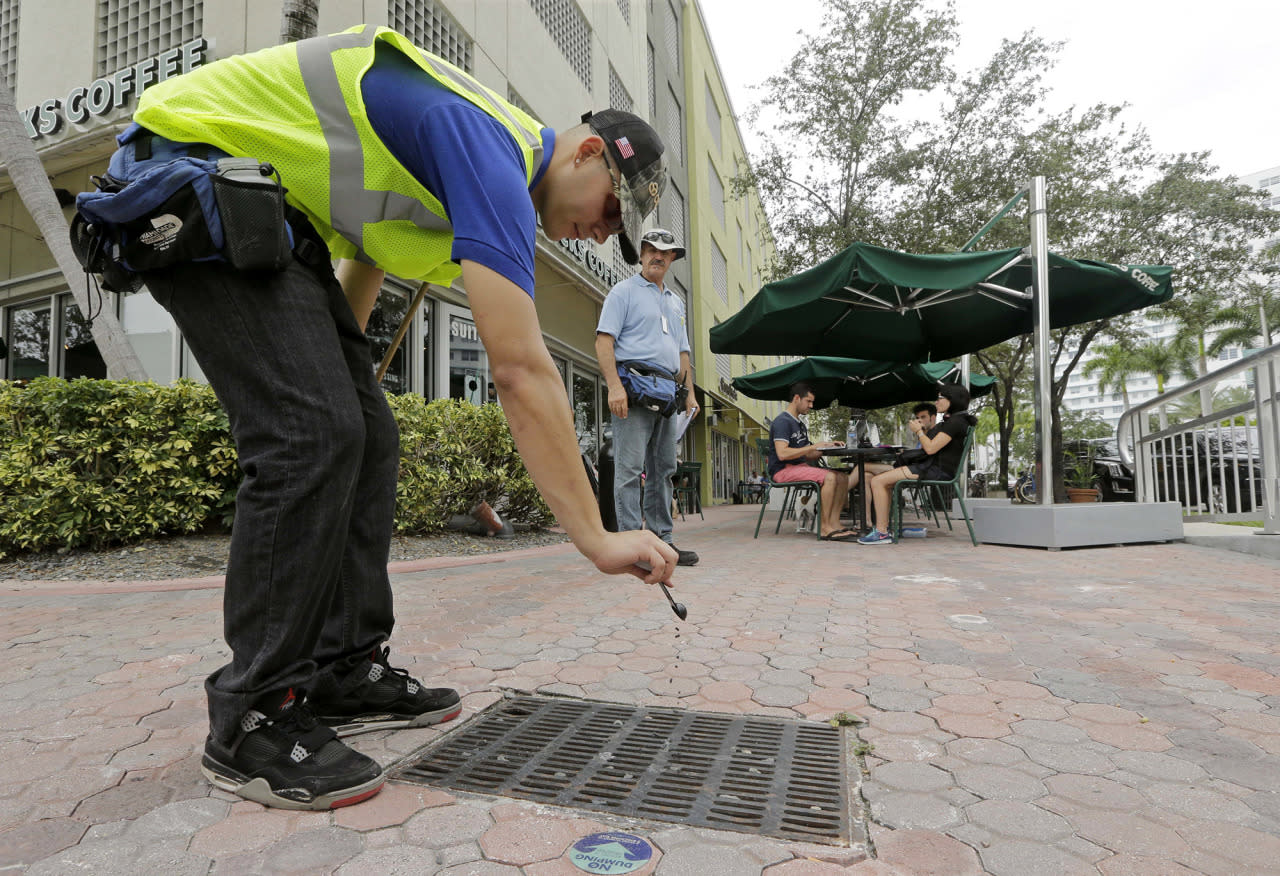 <p>Miami-Dade mosquito control contractor Alejandro Espinosa pours chemicals into a storm sewer on a sidewalk, Friday, Sept. 2, 2016, in Miami Beach, Fla.  (AP Photo/Alan Diaz)</p>