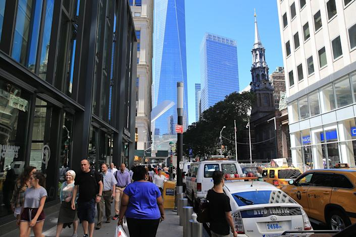 <p>Fifteen years after the collapse of the World Trade Center towers, construction is now complete of a modern subway hub on Fulton Street connecting to World Trade Center, Aug. 23, 2016. (Gordon Donovan/Yahoo News) </p>