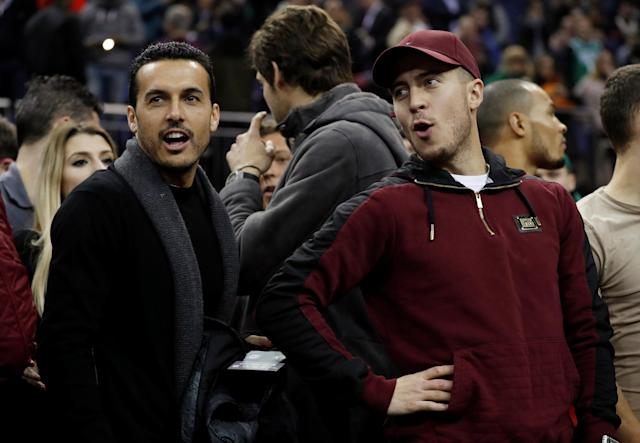 Basketball - NBA - Boston Celtics vs Philadelphia 76ers - O2 Arena, London, Britain - January 11, 2018 Chelsea's Eden Hazard and Pedro at the game REUTERS/Matthew Childs