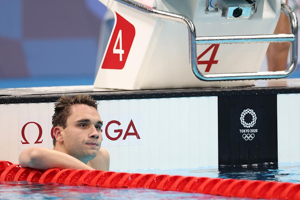 TOKYO, JAPAN - JULY 28: Kristof Milak of Team Hungary reacts after competing in the Men's 200m Butterfly Final on day five of the Tokyo 2020 Olympic Games at Tokyo Aquatics Centre on July 28, 2021 in Tokyo, Japan. (Photo by Tom Pennington/Getty Images)
