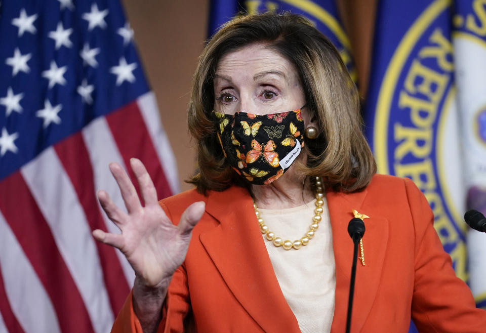 Nancy Pelosi speaking at a press conference on FridayAP