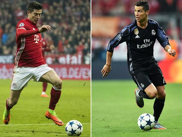 Bayern Munich's Robert Lewandowski (L) running with the ball during the UEFA Champions League match against Arsenal, on February 15, 2017 and Real Madrid's Cristiano Ronaldo controlling the ball during the UEFA Champions League match against Bayern Munich (AFP Photo/Odd ANDERSEN, Christof STACHE)