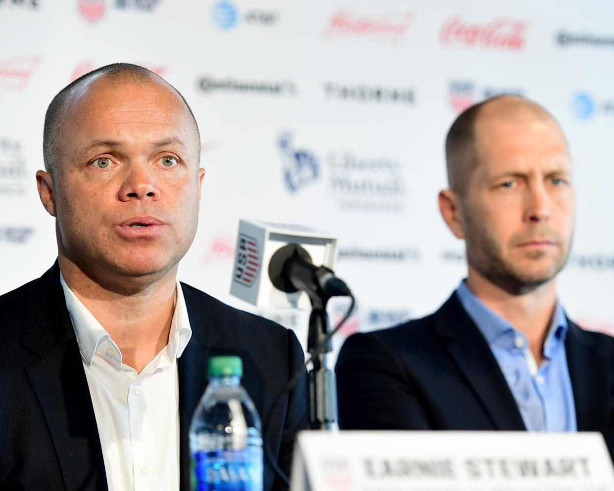 U.S. Soccer sporting director Earnie Stewart (left) and U.S. men's national team head coach Gregg Berhalter had both been involved in the planning of a January camp in Qatar. (Sarah Stier/Getty Images)