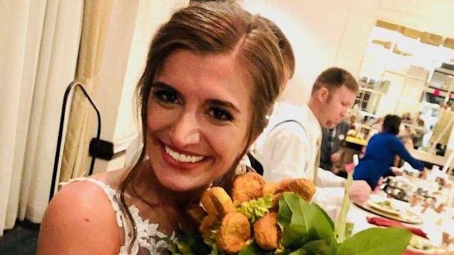 Bride who loves chicken nuggets surprised with nugget bouquet at her wedding (ABC News)