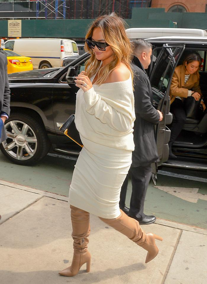 dc55e034a1f Chrissy Teigen's Slouchy Boots Are Everything We Need For Fall