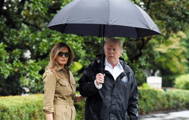 Melania and President Donald Trump have reportedly been staying in separate places. They are pictured here together in September of last year. Source: Getty