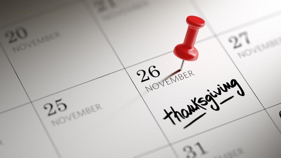 calendar with thanksgiving marked
