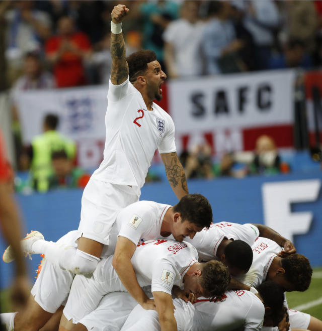 <p>Kyle Walker celebrates after ex-Spurs teammate Trippier put England ahead against Croatia </p>