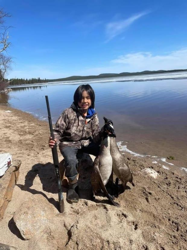 Ten-year-old Myles Cooper has already harvested three geese this spring. He got his first ever goose when he was just six years old in 2017. (Submitted by Tony Cooper - image credit)