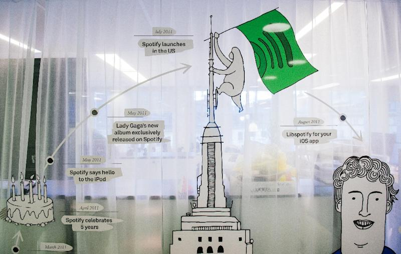 A timeline of Spotify accomplishments is pictured next to the reception desk of the company headquarters in Stockholm on February 16, 2015 (AFP Photo/Jonathan Nackstrand)