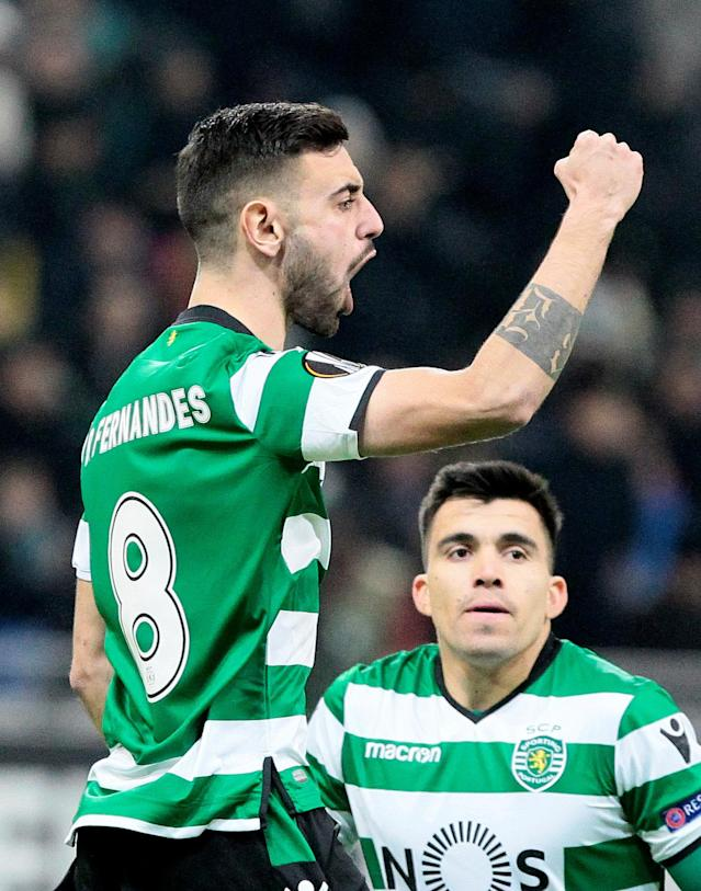 Soccer Football - Europa League Round of 32 First Leg - Astana vs Sporting CP - Astana Arena, Astana, Kazakhstan - February 15, 2018 Sporting's Bruno Fernandes celebrates scoring their first goal REUTERS/Alexei Filippov