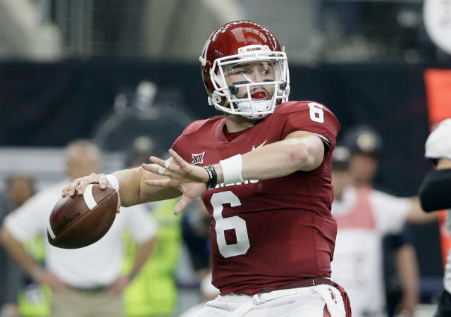 Oklahoma quarterback Baker Mayfield is looking to impress NFL scouts this week at the Senior Bowl. (AP Photo/Tony Gutierrez, File)